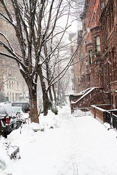 New York city snow falling, winter