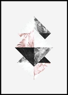 Graphic poster with triangles. Stylish and trendy.