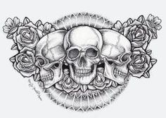 Dot Skull and Roses Chest Piece Tattoo (finished) by kirstynoelledavies