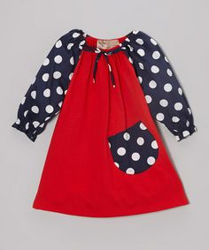 Take a look at this Red & Navy Polka Dot Peasant Dress - Toddler & Girls by Lele Vintage on #zulily today!