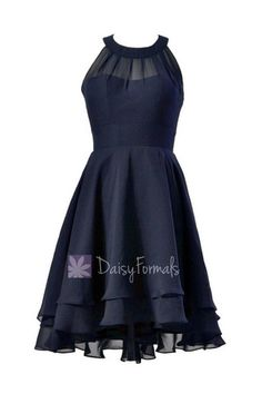 Navy Chiffon Formal Dress Short High Low Dress W/Illusion Neckline – DaisyFormals-Bridesmaid and Formal Dresses in 59+ Colors