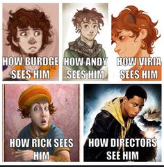 And this is proof that viria, burdge, and andy are amazing artists and that the directors know nothing of percy jackson (its just sad) Percy Jackson Fandom, Percy Jackson Memes, Percy Jackson Books, Solangelo, Percabeth, Conquistador, Grover Underwood, Oncle Rick, Rick E