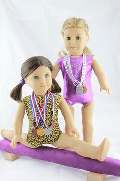 Purple Doll Leotards, Medals and Purple Balance Beam - American Girl Doll. $50.00, via Etsy.
