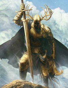 Golden Armor Paladin Knight - Pathfinder PFRPG DND D&D d20 fantasy