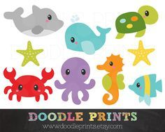 Ocean Clipart - Sea Digital Clip Art Printable - Under the Sea Creatures, Ocean - Dolphin, Fish, Crab, Octopus - Personal Use Only