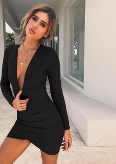 Nadafair Deep V Neck Backless Skinny Bodycon Dresses Women Long Sleeve Mini  Party Club Autumn Winter Dresses Red Black cece47403798