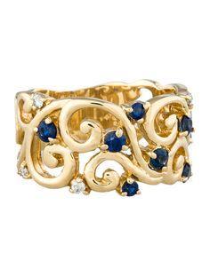 Sapphire & Diamond Scroll Ring