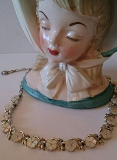 Vintage Vintage Gorgeous Mother of Pearl necklace 1940's or 50's Super condition, original fastener hook to keep this beauty secure and it adds to the piece. A very Chic and Eyecatching Item £15 + £1.50 uk postage ♥can be worn at different lengths from neck to décolleté
