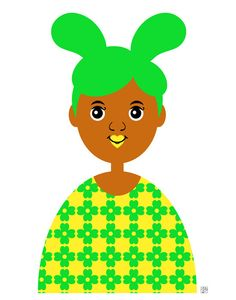 Girl 7 Art Print Retro Bunny Girl Illustration by thepairabirds (Art & Collectibles, Prints, little girl art, african american art, multicultural art, ethnic art, brown skin, girl bunny, green hair, green and yellow, flower dress, four leaf clover, rabbit girl, easter bunny, spring print)