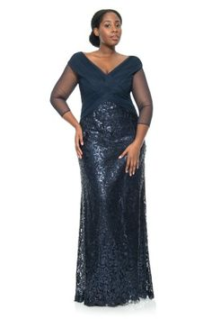 Tadashi Shoji Ruched Tulle Woven Bodice 3/4 Sleeve Gown - PLUS SIZE