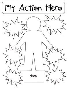 My Action Hero. I tweaked this idea for primary grades. The body is ready to decorate as a super hero and students can write their verbs in the action bubbles.
