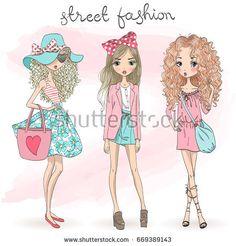 Three hand drawn beautiful cute cartoon summer girls on background with an inscription street fashion. Vector illustration.