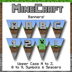 Minecraft Themed Banners! Letters, Numbers & Symbols Keywords: minecraft, mine craft, water, lava, wood, stone, sand, dirt, grass, block, theme, themed, bulletin board, letters, numbers, symbols, characters, uppercase, lowercase, presentation, party, theme, classroom decoration, cut out, writing, algebra, printable, manipulatives, alphabet, flashcards, color, pack, search, pattern, design, zebra, www.zisforzebra.com, pennant, bunting