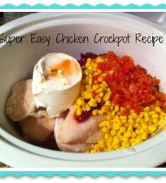 Super EASY Chicken Crockpot Recipe (the secret ingredient is cream cheese!!) NO PREP!!!  YES!!!--so I made this by plopping in frozen chicken, frozen corn, rinsed can if black beans, block if cream cheese, two cups water/teo cubes chicken broth, and can if Rotel. Turned out awesome!! Chicken fell apart/shredded when I went to stir it. Will probably adapt recipe to make a chicken corn chowder.