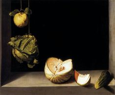 Still life with quince,cabbage,Melon and Cucumber Juan Sanchez-Cotan Wholesale Oil Painting China Picture Frame 32878 Famous Still Life Paintings, Still Life Artists, Painting Still Life, Amazing Paintings, Caravaggio, Eye Painting, Artist Painting, Francisco Zurbaran, Francisco Goya