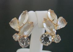 Vintage Juliana Style Clip Earrings Champagne Navettes by JoysShop, $14.95