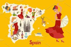 Spainish landmark, Spain vector map  @creativework247