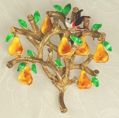 CADORO Vintage Enamel PARTRIDGE in a PEAR TREE Brooch