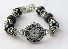 Black and White Pandora Style Watch Charm Bracelet $35.00