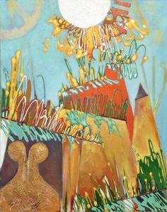 Huile sur bois Paysage au moulin  .51 x 40,5 cm . Ghü