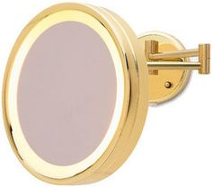 3 times magnificaton Brass/Gold finish lighted wall mount magnifying mirror.