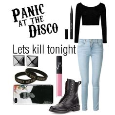 Lets kill tonight//Panic at the disco by fashiongirlxcx on Polyvore featuring polyvore fashion style Boohoo Frame Denim rag & bone Waterford Stila NARS Cosmetics let Panic