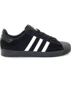 watch 4f6df c094b adidas Superstar Vulc ADV Black Suede   White Shoes   Zumiez