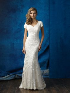 Allure Modest M560 Cap Sleeve Lace Sheath Wedding Dress – Off White