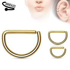 "316L Surgical Steel Annealed D Ring can be used for Helix, Upper Lobe, and Septum Piercings Size: 16G 5/16"" 16G 3/8"""