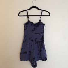 Free People romper Blue tie dye romper. Cute sleepwear or bathing suit coverup. Could also be worn strapless (removable straps). Free People Intimates & Sleepwear Pajamas