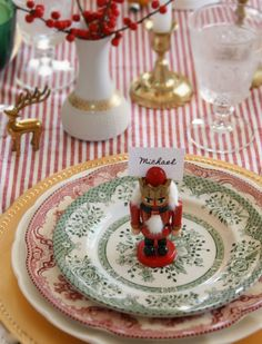 Beautiful table for a party with a ddition of a little nutcracker - - - christmas decoration ideas, christmas ideas. ornament garland, christmas parties, hannukah, new years, christmas table
