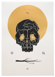Basik - 'Omnia Mutantur' screenprint, black & laminated gold Edition of 50  available at http://viavaiproject.bigcartel.com/product/basik-omnia-mutantur