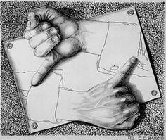 "Chuck Baird's ""If I were M.C. Escher"" (ASL sign for 'drawing')"