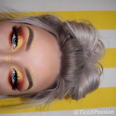 Orange and yellow cochella/festival inspired makeup look