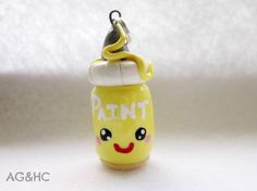 Kawaii Paint Bottle Clay Charm  Handcrafted by AGirlandHerClay, $4.25