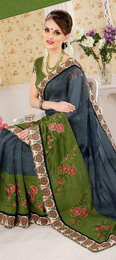 147937: Embroidered Sarees, Super Net, Patch, Border, Machine Embroidery, Resham  #saree #green #floral #flowerpower #parywear #Onlineshopping