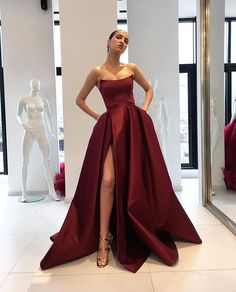 Simple Side Slit Cheap Maroon A-line Long Evening Prom Dresses, Cheap Sweet 16 D. Simple Side Slit Cheap Maroon A-line Long Evening Prom Dresses, Cheap Sweet 16 Dresses, 18364 Gallery Ideas] Split Prom Dresses, Strapless Prom Dresses, Ball Gowns Prom, Satin Dresses, Gala Gowns, Red Gowns, Bridesmaid Gowns, Party Gowns, Party Dress