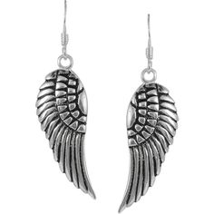 Jewel Exclusive Sterling Silver Left & Right Angel Wing Earrings (20 AUD) ❤ liked on Polyvore