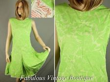 Vintage 60s THE LILLY Pulitzer Bright Green Floral Cotton Summer Shift Dress M/L