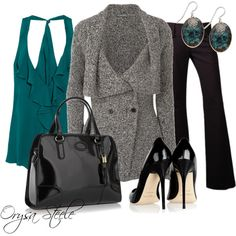 Pants Outfit (Teal + Black + Grey)