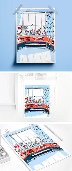 Illustration veranda Illustration home Poster veranda Art home sweet Garden home illustration Poster window room #home #veranda #interiors