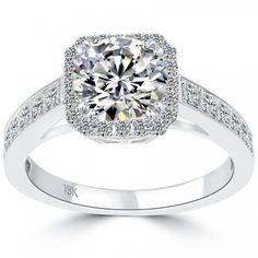 2.19 Carat H-VVS1 Natural Round Diamond Engagement Ring 18k Gold Vintage Style