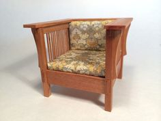 Mission Chair 1 inch scale miniature. cherry lotus by BuiltInWood