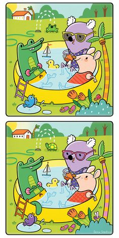 """""""Cooling Off,"""" a spot-the-differences illustration for Highlights High Five Bilingüe Magazine, August, 2015 issue. Spot The Difference Kids, Find The Difference Pictures, Kids Learning Activities, Creative Activities, Find The Differences Games, Body Preschool, English Teaching Materials, English Lessons For Kids, Hidden Pictures"""