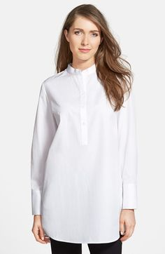 """Nordstrom Collection Cotton Poplin Tunic Shirt available at  small stand collar and buttoned half-placket begin a white tunic shirt in a relaxed cut of fine cotton poplin. 34"""" length (size Medium). Long sleeves with extended button cuffs. 100% cotton. Machine wash cold, line dry. By Nordstrom C#Nordstrom"""