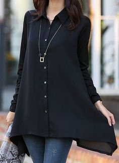 Casual Shirt Collar Long Sleeve Chiffon Asymmetrical Solid Color Shirt For Women