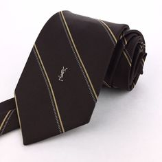 YSL YVES SAINT LAURENT 54 Short Skinny Brown Beige & White Striped Silk Neck Tie #YesSaintLaurent   Men's Fashion & Style   Menswear   Moda Masculina   Shop at designerclothingfans.com