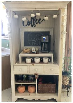 Bar Armoire, Armoire Redo, Armoire Makeover, Furniture Makeover, Diy Furniture, Bar Hutch, Coffee Nook, Coffee Bar Home, Home Coffee Stations