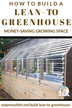 Take advantage of an existing wall on your house and use it to build a lean-to greenhouse. Saves money on materials and makes use of heat from the house. # green house diy greenhouse plans Build a Lean-To Greenhouse Diy Greenhouse Plans, Backyard Greenhouse, Pergola Plans, Pallet Greenhouse, Greenhouse Farming, Cheap Greenhouse, Pergola Ideas, Lean To Greenhouse Kits, Heated Greenhouse