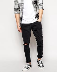 92756fbc63e River Island Skinny Fit Jeans with Knee Rip at asos.com